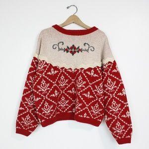 Vintage Mary Elizabeth's Red Folk Sweater SZ M